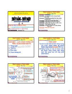 Giáo trình Thủy năng-Thủy điện - Chương 9.1: Nhà máy - Nguyễn Thống