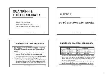 Giáo trình Vật liệu Silicat - Chương 1: Cơ sở giao công đập-Nghiền
