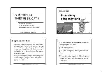 Giáo trình Vật liệu Silicat - Chương 9: Phân riêng bằng máy lắng