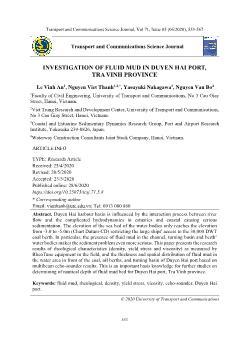 Investigation of fluid mud in Duyen Hai port, Tra Vinh province