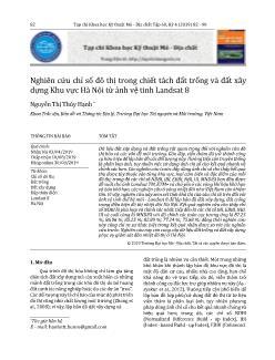 Nghiên cứu chỉ số đô thị trong chiết tách đất trống và đất xây dựng Khu vực Hà Nội từ ảnh vệ tinh Landsat 8